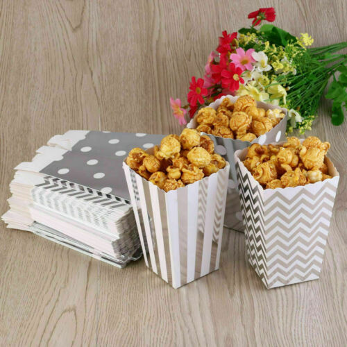 50X Popcorn Boxes Holder Movie Pack Hollywood Birthday Party Home Cinema Bags UK