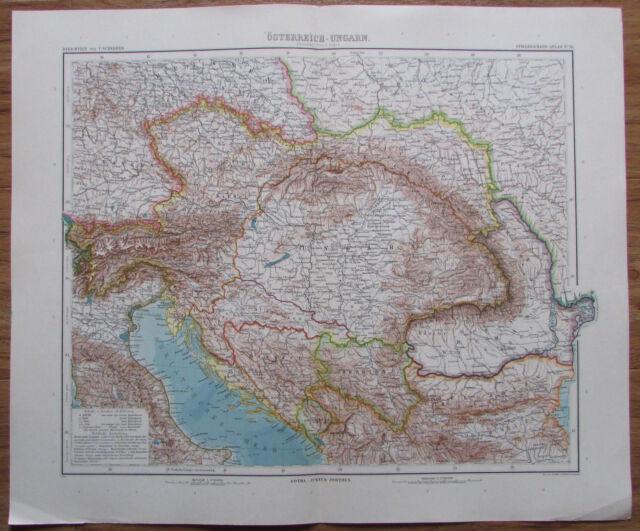 1906 ÖSTERREICH UNGARN 49X40,5 cm Original alte Landkarte old map Osztrák Magyar