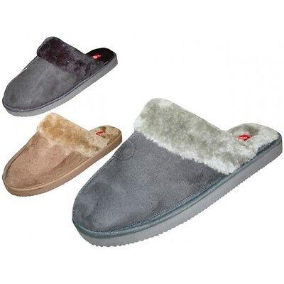 New Men Velour w/ Fur House Indoor/Outdoor Slippers Shoes Sz S, M, L, XL
