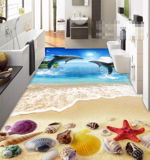 3D Plage 63 Fond d'écran étage Peint en Autocollant Murale Plafond Chambre Art