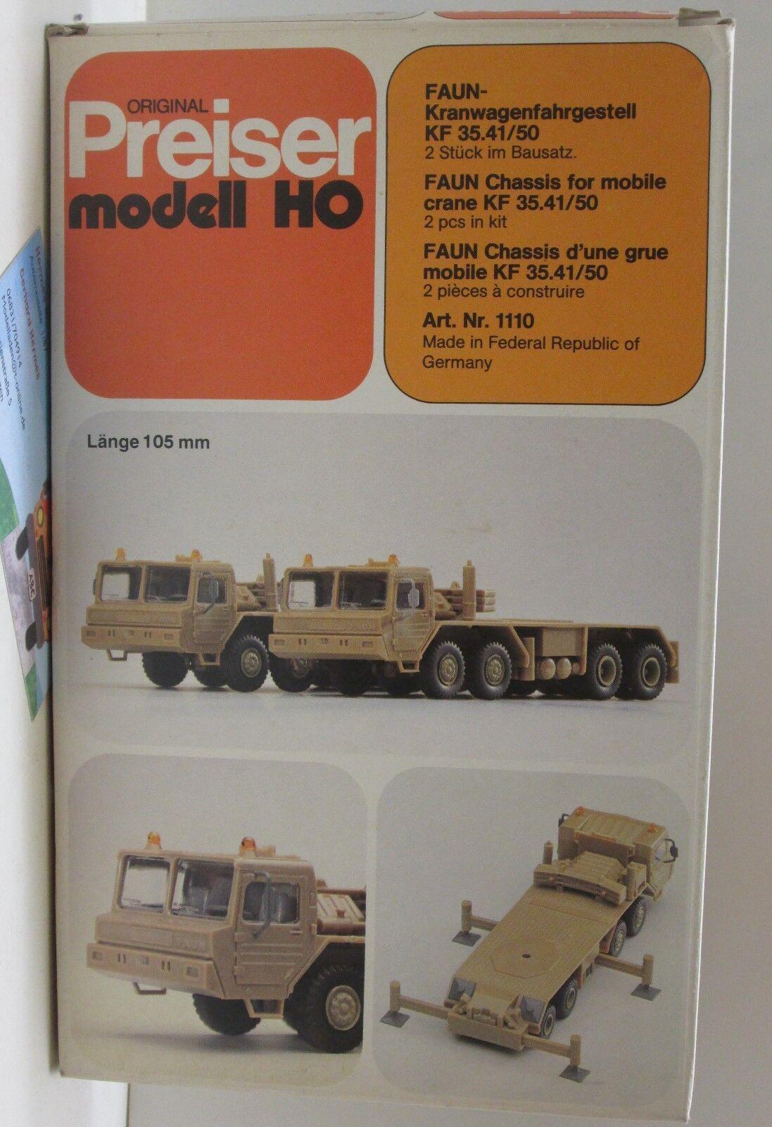 Preiser 1110  Faun kranwagenfahrgestell KF 35.41 50, 50, 50, 2 unidades en el kit 1 87 7943c7