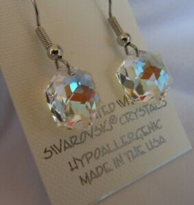 HYPOALLERGENIC-Dangle-Earrings-Swarovski-Elements-Crystal-Hexagon-in-AB-Color
