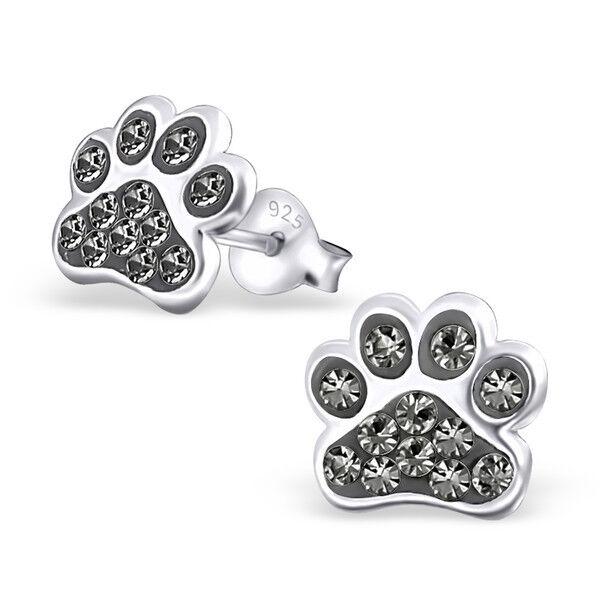 Crystal Children's PAW DOG Sterling Silver 925 Ear Studs Stud Earrings KIDS GIRL