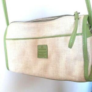LIZ-CLAIBORNE-Small-Off-White-Green-Faux-Leather-Trim-Shoulder-Crossbody-Bag-GC