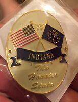 Indiana In Flag Us United States Hiking Staff Stick Medallion