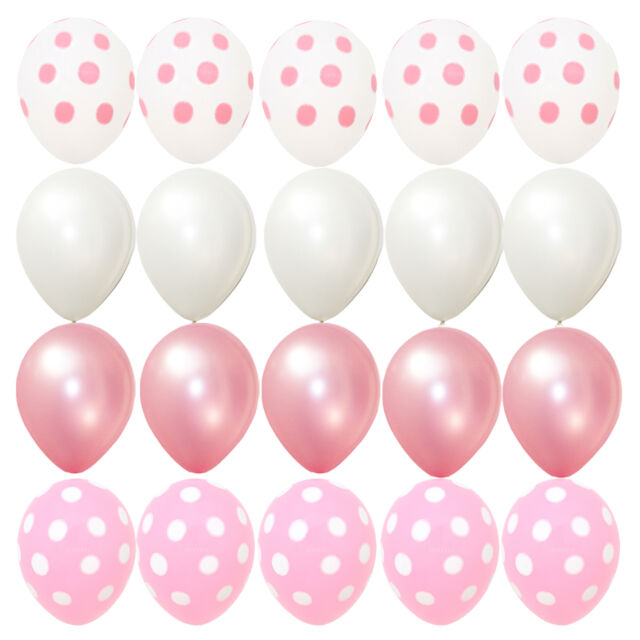 20x Balloons Pink Polka Dots Baby Shower Birthday Party Minnie Mouse