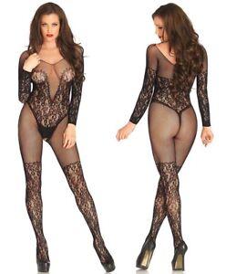 ce952459893 Image is loading Womens-Sexy-Lingerie-Nightwear-Long-Sleeve-Black-Fishnet-