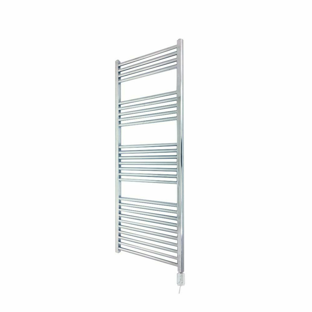 400mm x 1400mm Straight Chrome 300W Thermostatic Electric Towel Rail & Element