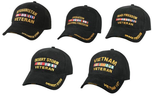 Military Veteran Hat Adjustable Black Cap Deluxe Low Profile Rothco