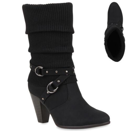 36-41 Damen Stiefel Strick Stiefeletten Schuhe 99650 Gr