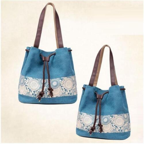 Femmes cordon de serrage sac à main toile épaule sac fourre-tout Shopping Sacs Porte-monnaie sac Q