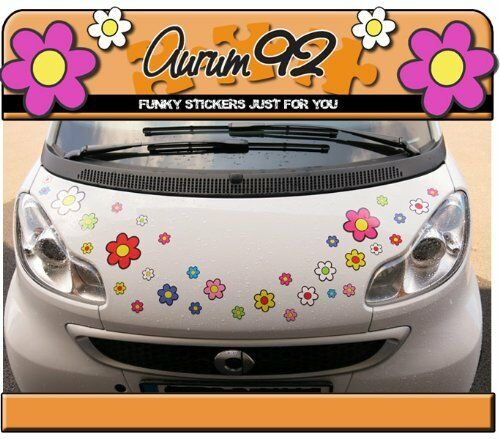 Funky Flower Colourful Car Stickers - Pack of 30