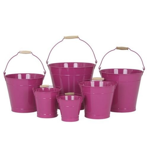 25cm Pink Zinc Bucket//Metal//Tin//Container//Storage//Flower Pot//Planter//Home//Garden