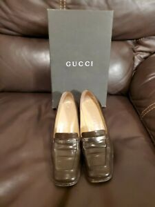 GUCCI-WOMEN-039-S-LEATHER-COFFEE-BEAN-DARK-BROWN-LOAFERS-SHOES-SIZE-6-B