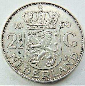 1960-NETHERLANDS-Juliana-Silver-2-1-2-Gulden-grading-VERY-FINE-or-better