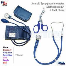 Aneroid Sphygmomanometer Stethoscope Kit Manual Blood Pressure BP Cuff Gauge