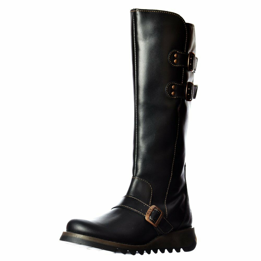 Womens Fly London Solv Calf High Winter Boot Low Wedge Cleated Sole Black Brown