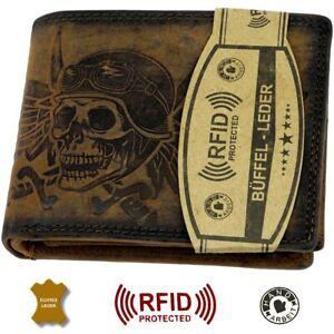 RFID-Herren-Geldboerse-Echtleder-Totenkopf-Querformat-Portemonnaie-Geldbeutel