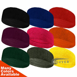Couver 3 inch Wide Headband / Sweatband Terry Cloth for Fashion, Spa & Sports