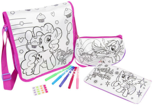 3 Pk Girls Colour Your Own Bag Set Pencil Case,Tote Bag Kids Craft Set Gift 3+