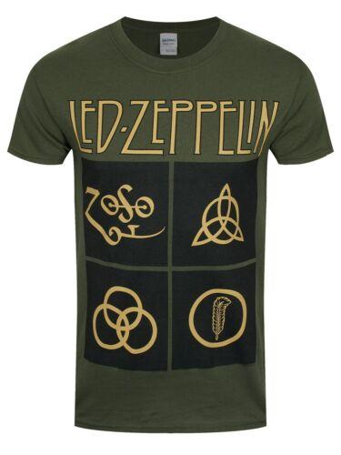 Led Zeppelin Gold Symbols Men/'s Olive Green T-shirt