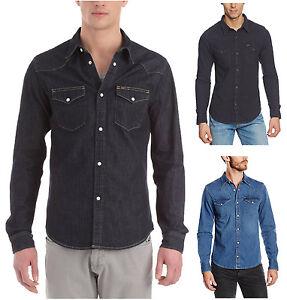 24839d35be Lee Western Denim Shirt New Men s Black Dark Indigo Blue Jean Shirts ...