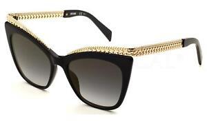 54d328f52784 Moschino MOS009/S 807 FQ Womens Cat-eye Sunglasses Black Gold Chain ...