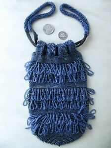 Antique Tan Crochet Knit Cobalt Blue Bead Satin Lining Drawstring Purse Vintage Clothing, Shoes & Accessories