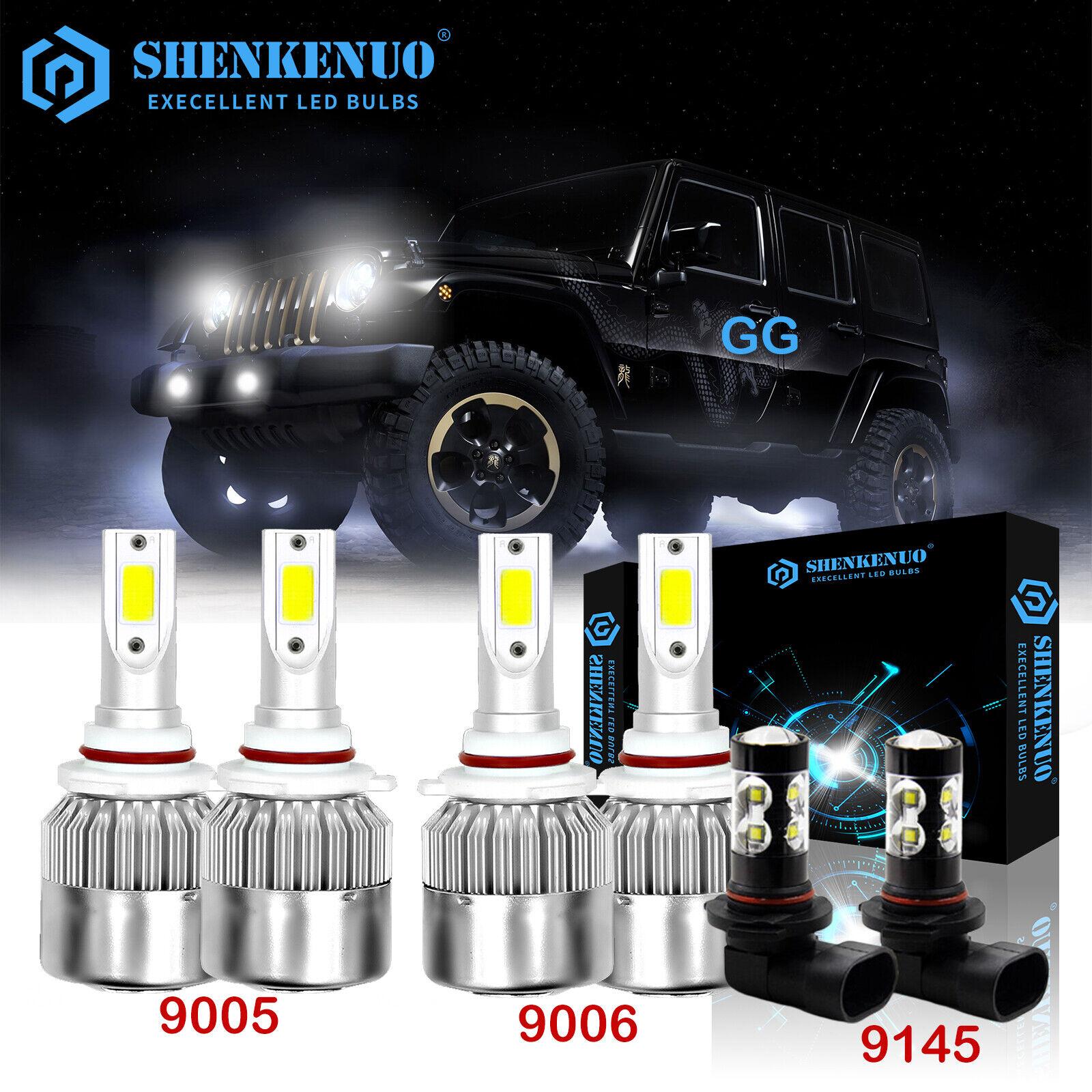 SHENKENUO 9005 9006 9145 Combo LED Headlight Bulbs For Jeep Grand Cherokee