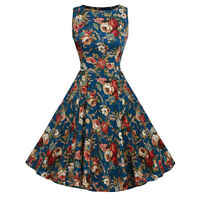 Women Vintage Style 1950s Retro Rockabilly Casual Evening Party Swing Dress 6-18