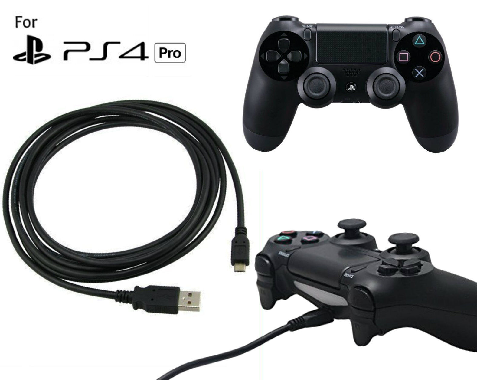 PS4 3m Play + Charging Charger Lead Cable For PlayStation Pro Controller GamePad 2