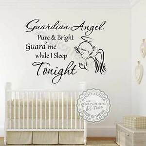 Guardian Angel Nursery Wall Sticker Quote Baby Boy Girl Bedroom Wall