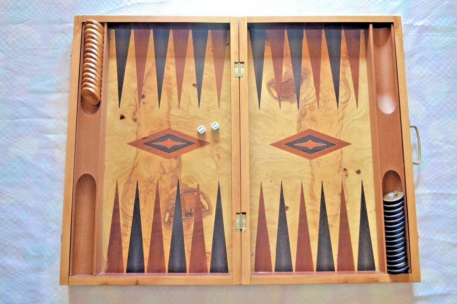 Hecho a mano madera de olivo de raíz tradicional Backgammon Juego Set-Grande Retro Vintage