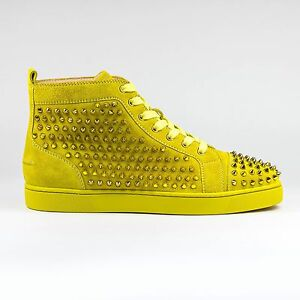 best sneakers ffc18 a0f60 Details about 100% Auth Christian Louboutin Louis Flat Spikes Suede Mimosa  Sneakers
