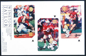 1995-Steve-Young-San-Francisco-49ers-NFL-Snoopy-Bowl-AT-amp-T-3-Phone-Card-Promo-Set