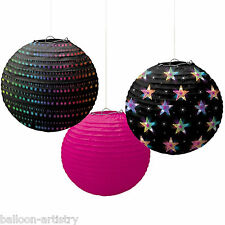 3 70's Disco Fever Themed Birthday Party Hanging Paper Ball Lantern Decorations