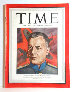 Jul 31, 1944 TIME Magazine- Red Air Forces's Novikov on Cover-News/Photos/Ads VG