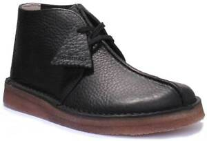 ae3c15fc8 Clarks Originals Desert Trek Mens Black Leather Matt Desert Boots UK ...