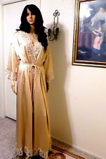 CLAIRE SANDRA LUCIE ANN BH vintage GOLD SATIN & LACE Peignoir Set size Medium