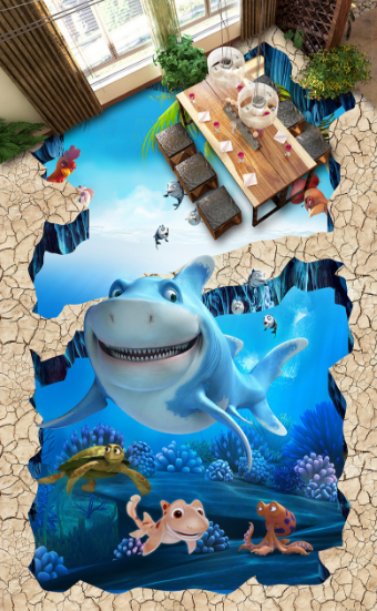 3D Sea Animal Cartoon 89 Floor WallPaper Murals Wall Print Decal AJ WALLPAPER US