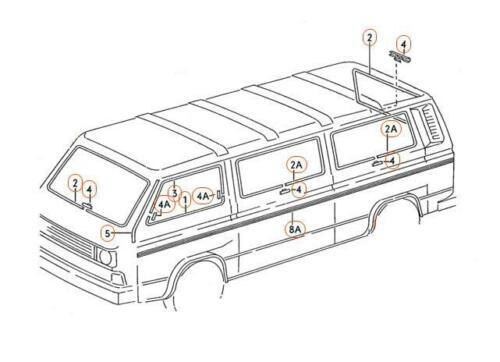 VW TYPE 2 T3//T25 CAMPER VAN CHROME WINDSCREEN WINDOW MOULDING TRIM COVER CLIP