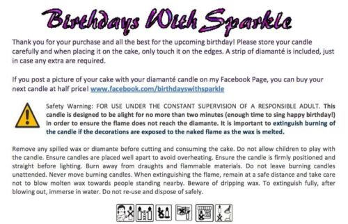 Birthday Candle Diamante Number 5 five Topper Frozen Party FREEPOST
