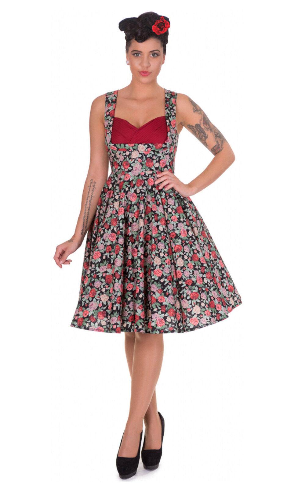 40-54 Estilo 50's Te Baile black red Flores Acampanado Vestido con Cabella pink