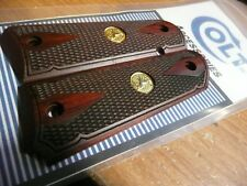 COLT 1911 FULL SIZE DOUBLE DIAMOND CHECKERED ROSEWOOD GRIPS GOLD MEDALLIONS