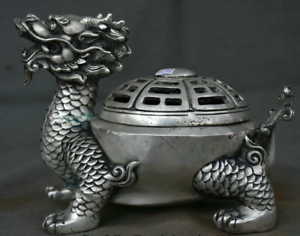 7-034-Marked-Old-China-Silver-Dynasty-Dragon-Turtle-tortoise-Incense-Burner-Censer