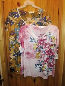 fb3fe663a69a2 NEW Womens Plus Terra   Sky Floral Ruffle Sleeve Tee Generous Fit