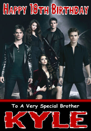 Vampire Diaries 2 Personalised Birthday Card Large A5 Size Any Name