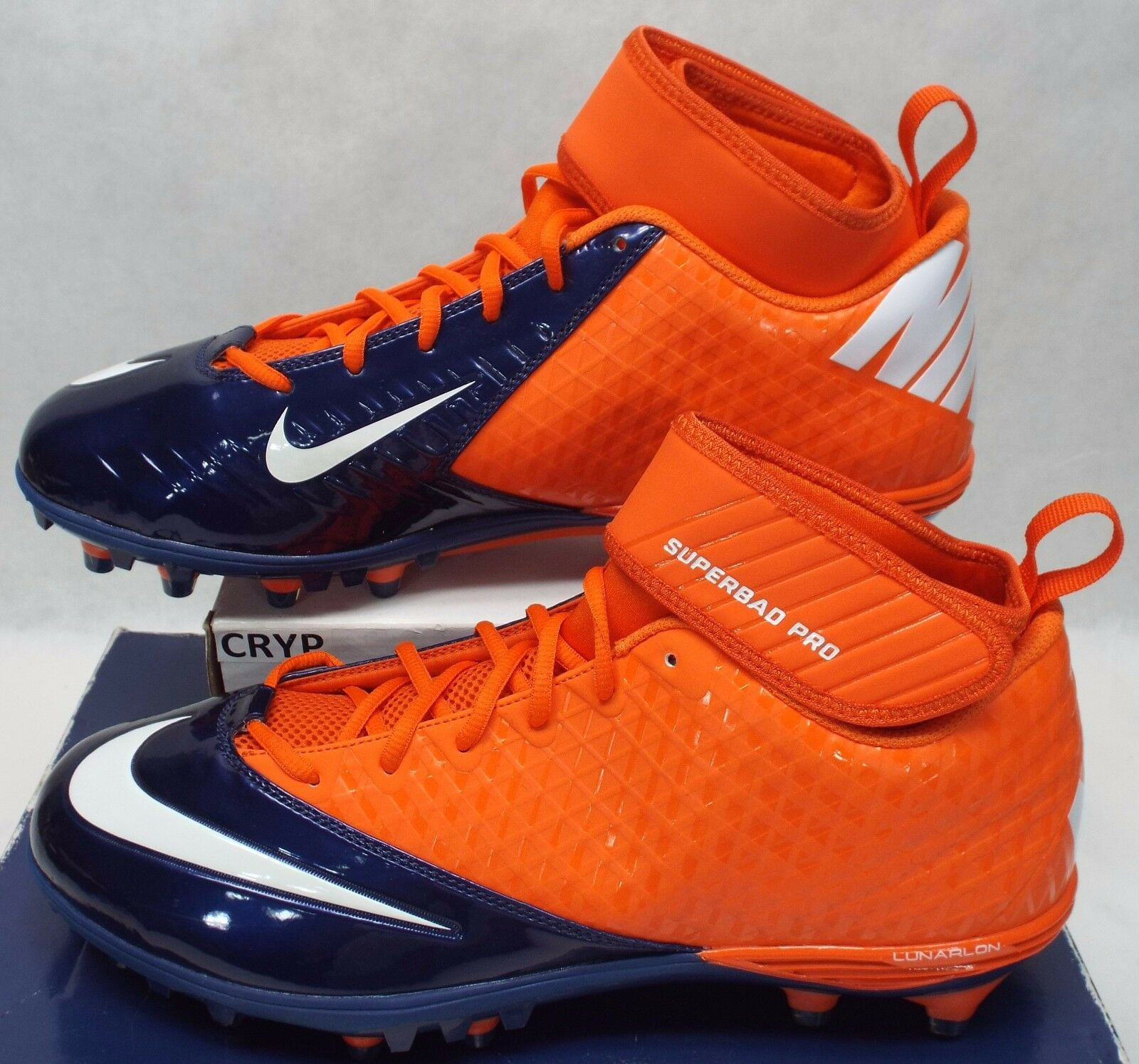 New Mens 13.5 13.5 13.5 NIKE Lunarlon Superbad Denver Broncos Cleats Shoes  105 534994-810 fb854d
