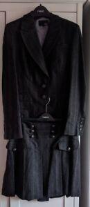 Next-Womens-Grey-Stripe-3-Piece-Suit-Jacket-Waistcost-Skirt-8-10-Wool-Mix