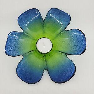 """Blue Green Glass Candle Holder Flower Shaped Votive Tea Light 6 Petals 6.75""""d"""